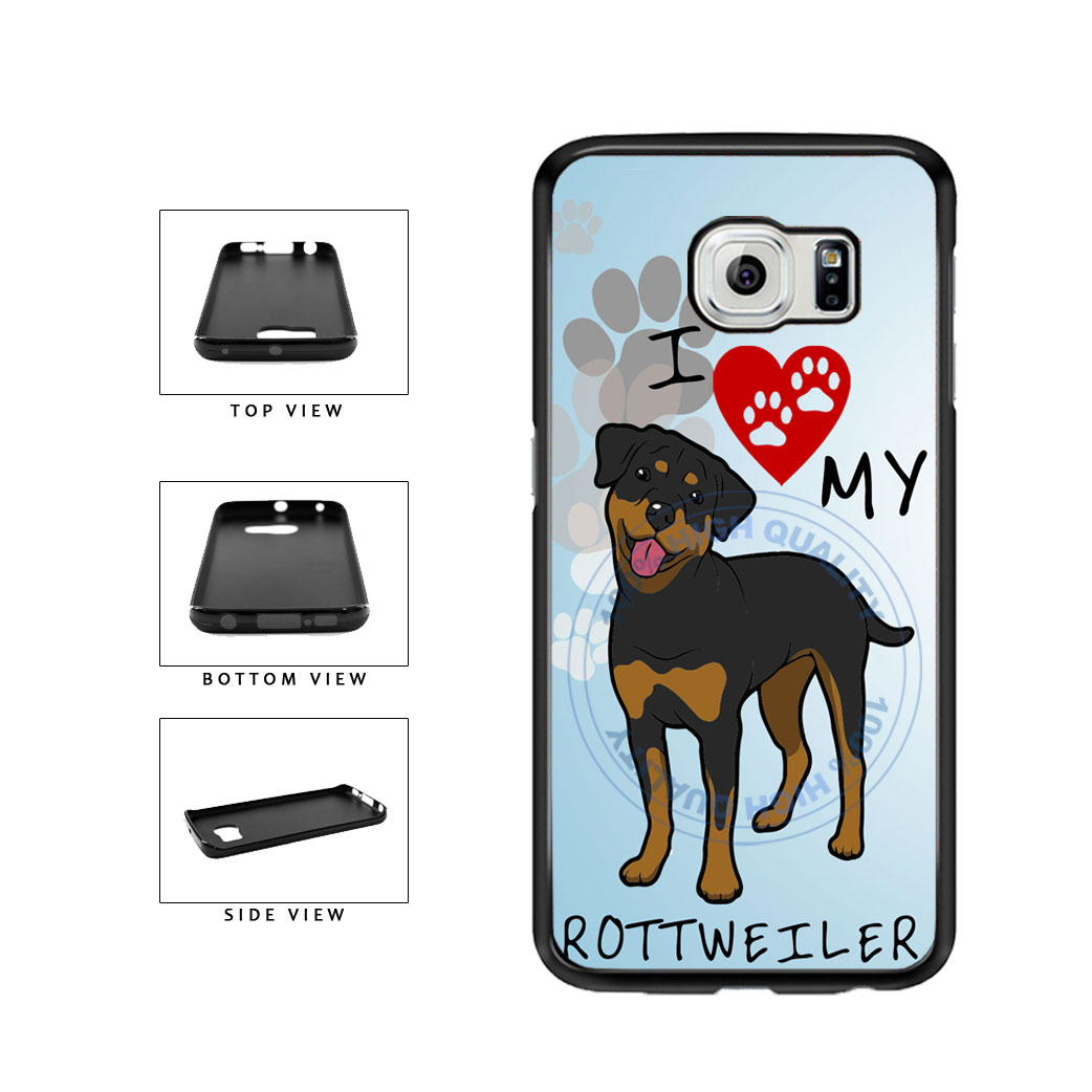 I Love My Rottweiler Dog Lover TPU Rubber SILICONE Phone Case Back Cover For Samsung Galaxy S6 Edge G925 includes BleuReign(TM) Cloth and Warranty Label