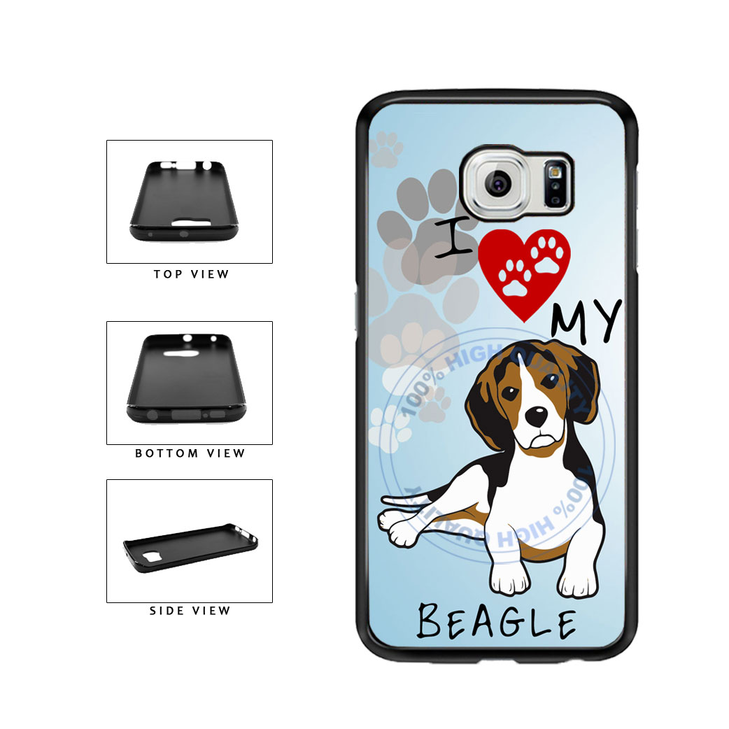 I Love My Beagle Dog Lover TPU Rubber SILICONE Phone Case Back Cover For Samsung Galaxy S6 Edge G925 includes BleuReign(TM) Cloth and Warranty Label