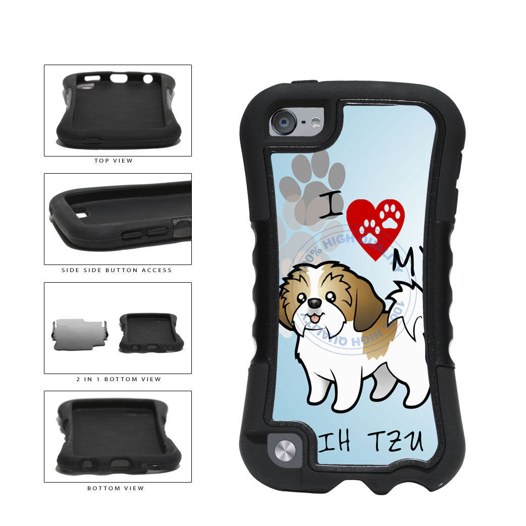 I Love My Shih Tzu Dog Lover 2-Piece Dual Layer Phone Case Back Cover For Apple iPod Touch 5th Generation includes BleuReign(TM) Cloth and Warranty Label