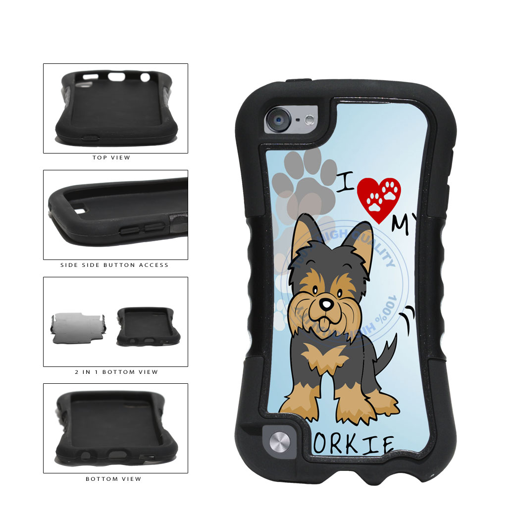 I Love My Yorkie Dog Lover 2-Piece Dual Layer Phone Case Back Cover For Apple iPod Touch 5th Generation includes BleuReign(TM) Cloth and Warranty Label
