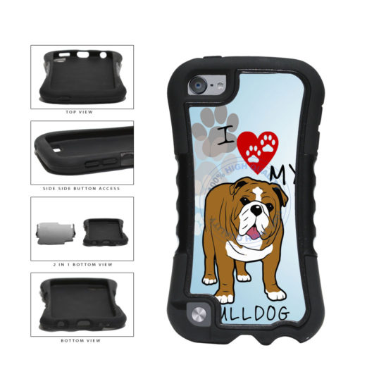 I Love My Bulldog Dog Lover 2-Piece Dual Layer Phone Case Back Cover For Apple iPod Touch 5th Generation includes BleuReign(TM) Cloth and Warranty Label