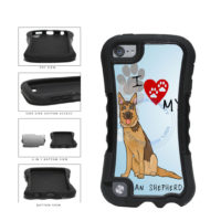 I Love My German Shepherd Dog Lover 2-Piece Dual Layer Phone Case Back Cover For Apple iPod Touch 5th Generation includes BleuReign(TM) Cloth and Warranty Label