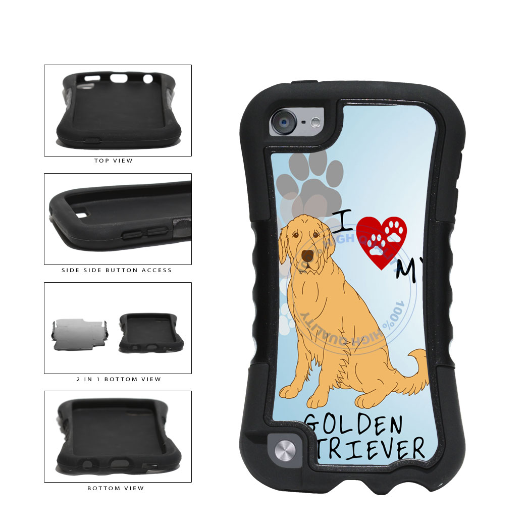 I Love My Golden Retriever Dog Lover 2-Piece Dual Layer Phone Case Back Cover For Apple iPod Touch 5th Generation includes BleuReign(TM) Cloth and Warranty Label