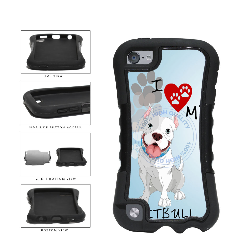 I Love My Pittbull Dog Lover 2-Piece Dual Layer Phone Case Back Cover For Apple iPod Touch 5th Generation includes BleuReign(TM) Cloth and Warranty Label