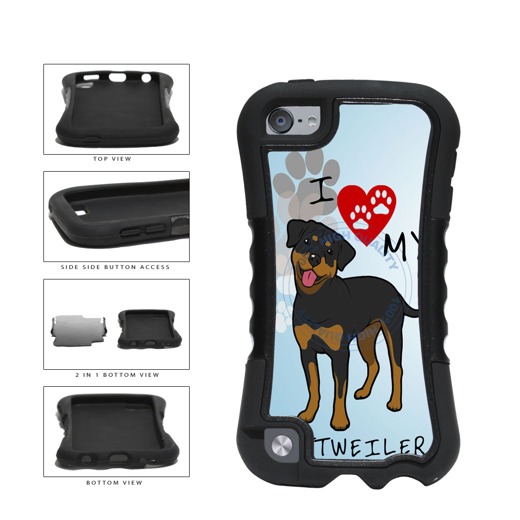 I Love My Rottweiler Dog Lover 2-Piece Dual Layer Phone Case Back Cover For Apple iPod Touch 5th Generation includes BleuReign(TM) Cloth and Warranty Label